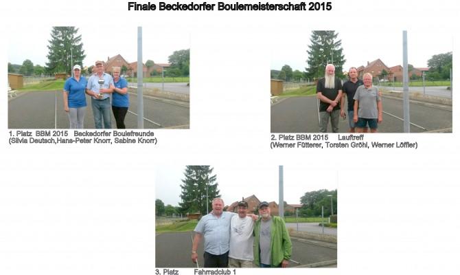 Die Sieger der Beckedorfer Boulemeisterschaft 2015